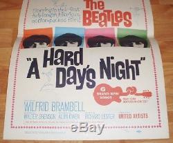1964 THE BEATLES A HARD DAYS NIGHT ORIGINAL WINDOW CARD 14x22 1/Sheet Poster