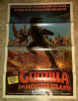 1970's GODZILLA ON MONSTER ISLAND Original 27x41 1-SH Movie Poster FN+ 6.5