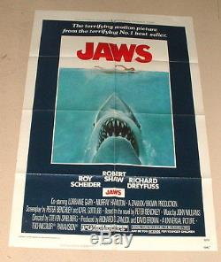 1975 Rare Original Jaws One Sheet 27 By 41 Movie Poster