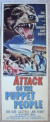 ATTACK OF THE PUPPET PEOPLE ORIGINAL 1958 INSERT MOVIE POSTER JOHN AGAR EX