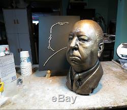 Alfred Hitchcock Life Mask Bust Sculpture From Original Vintage Lifecast Vertigo