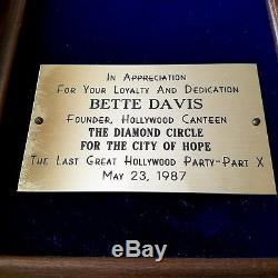 Bette Davis 1987 Received Original Hollywood Canteen City Of Hope Award Medal