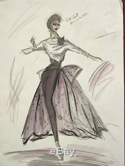 EDITH HEAD ORIGINAL Sketch for JOAN CRAWFORD film costume