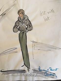 Edith HEAD Audrey Hepburn ORIGINAL Costume Sketch from SABRINA, 1954, Oscar