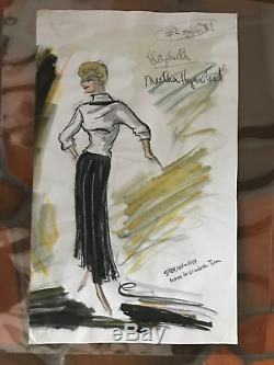 Edith HEAD ORIGINAL Costume Sketch for MARTHA Hyer in SABRINA, 1954, legendary