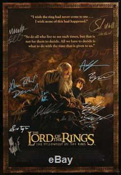 Entire Cast Autographed Lord Of The Rings Fellowship Of The Ring Movie Poster