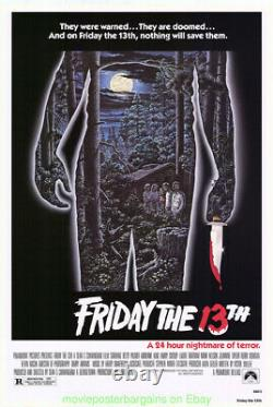 FRIDAY THE 13TH MOVIE POSTER 27x40 ORIGINAL ONE SHEET 1980 HORROR NOT A NSS