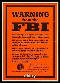 Fbi Warning Propaganda Original 1943 Poster Ww2 Red Spy USA Cia Nsa Hoover
