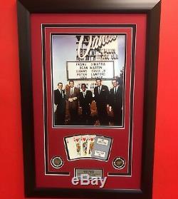 Framed The Rat Pack Sands Casino Hotel 11x14 Photo Cards Poker Chips Las Vegas