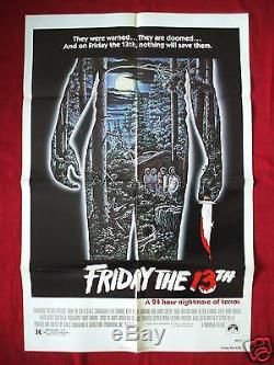 Friday The 13th 1980 Original Movie Poster Authentic Jason Voorhees Halloween
