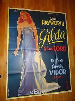 Gilda ORIGINAL 1972R Giant French Movie Poster Rita Hayworth Glenn Ford