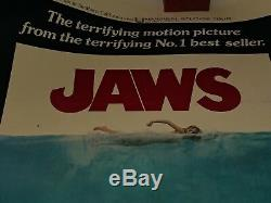 JAWS 1975 ORIGINAL MOVIE POSTER 27x41 Linen Backed