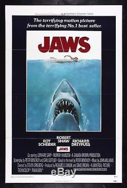 JAWS CineMasterpieces ORIGINAL MOVIE POSTER 1975 UNUSED SHARK C9 NM