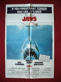 JAWS ORIGINAL MOVIE POSTER 27x41 1979 RE-RELEASE OF THE 1975 CLASSIC SPIELBERG