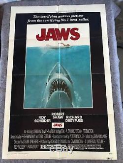 Jaws 1975 Original 1 Sheet Movie Poster 27 x 41 (F/VF-) Dreyfuss/Spielberg
