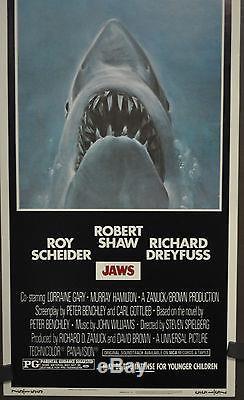 Jaws 1975 Original 14x36 Movie Poster Roy Scheider Robert Shaw Richard Dreyfuss