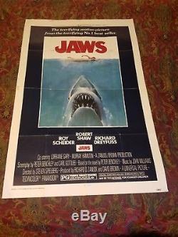Jaws 1975 Original One Sheet Horror Poster 27×41. Steven Spielberg