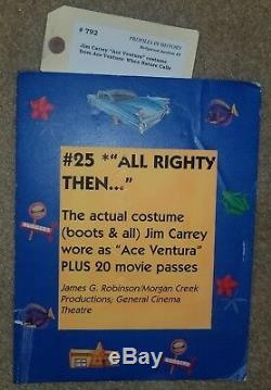 Jim Carrey Screen Worn Ace Ventura Outfit Prop Wardrobe pants shirt