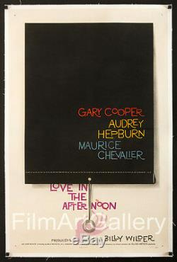 LOVE IN THE AFTERNOON 1sh Saul Bass Audrey Hepburn linen-backed Film Art Gallery
