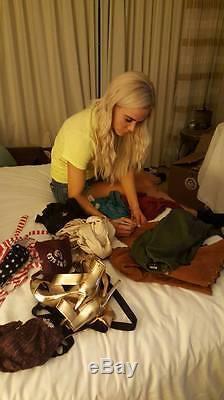 Lana WWE authentic autograph signed owned worn photoshoot flag bathing suit COA