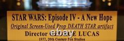 Large DEATH STAR Screen-Used PROP STAR WARS IV, COA London Props, DVD Lit CASE