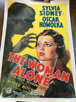 ORIGINAL 1937 HITCHCOCK A WOMAN ALONE/SABOTAGE one sheet