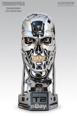 Original Chrome Sideshow Terminator T-800 Endoskeleton Bust Statue Figure