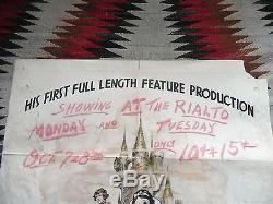 Original 1937 Walt Disney's Snow White & Seven Dwarfs 1 Sheet Movie Poster As-Is