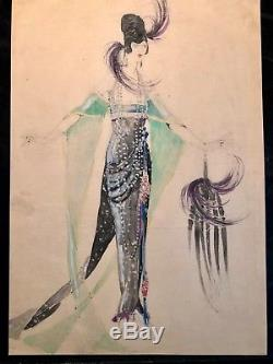 Original Erté Watercolor Fanny Brice Costume Broadway Coa From Paris Dealer