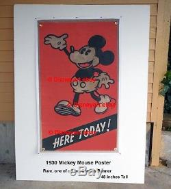 Original Mickey Mouse Theater Poster Here Today! 1929 1930 Extreme Rare