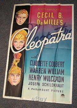 Original RARE 1934 1B CLEOPATRA MOVIE POSTER Adolph Zukor Claudette Colbert NICE