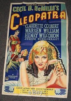 Original RARE 1934 CLEOPATRA 1A MOVIE POSTER Cecil B DeMille Claudette Colbert