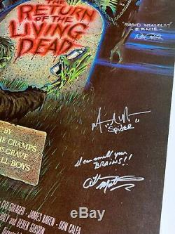Original Return of the Living Dead Movie Poster Signed by 4 Rare Horror