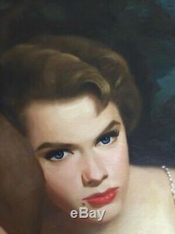 Original Signed Pulp Illustration Movie Art Actress Anne Francis Girl Night'60