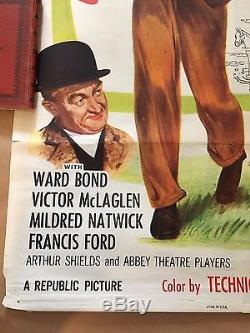 Original The Quiet Man One sheet Tri-fold movie poster Maureen O'Hara John Wayne