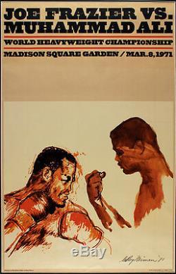Original Vintage 1971 Muhammad Ali Joe Frazier LeRoy Neiman Boxing Fight Poster