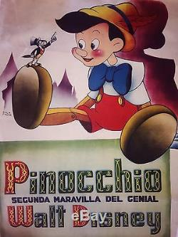 PINOCCHIO original vintage one sheet movie film poster 1940 WALT DISNEY RKO