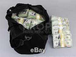 PROP MOVIE MONEY Fake Money New Style AGED $100s $500k Blank Bundle Duffel Bag