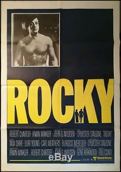 ROCKY 1976 Original Movie Poster 40x55 2Sh RARE Stallone Vintage