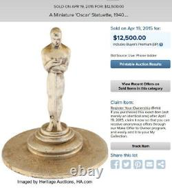 Rare 1939 11th Annual Academy Awards (AMPAS) miniature table Oscar statue