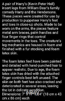 Rare Rick Baker Studios Harry and the Hendersons Screen Used Feet Signed COA