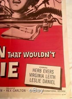 THE BRAIN THAT WOULDN'T DIE Original 1962 theatrical 1-sheet AIP horror MST-3K