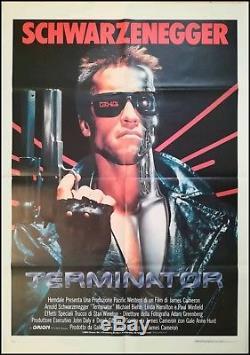 THE TERMINATOR 1984 Original Movie Poster 39x55 2Sh Italian RARE SCHWARZENEGGER