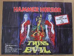 TWINS OF EVIL hammer horror original UK quad movie poster'71