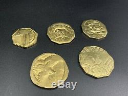 The Hobbit 2012 Screen Used Prop Set Of 5 Metal Treasure Gold Coins With COA