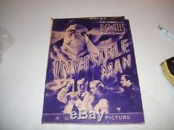 VINTAGE 1933 Original Window Lobby Card Sign Poster THE INVISIBLE MAN HG Wells