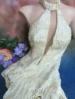 VINTAGE 1940s Folies Bergeres BURLESQUE Show GIRL Vegas Stage COSTUME sequins S
