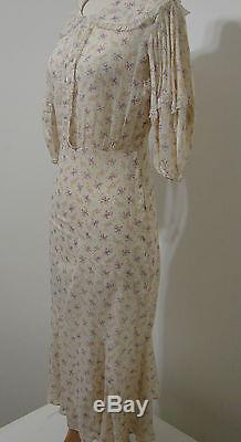 Vintage 1930's Universal Studio Stamped Sheer Floral Print Bias Cut Day Dress 38