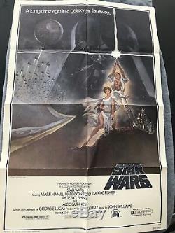 Vintage 1977 Original Star Wars Movie Poster One Sheet 27x41 #77/21