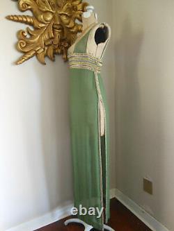 Vtg 1960's CLEOPATRA Elizabeth Taylor MOVIE COSTUME Olive SHEER SILK Beaded xs